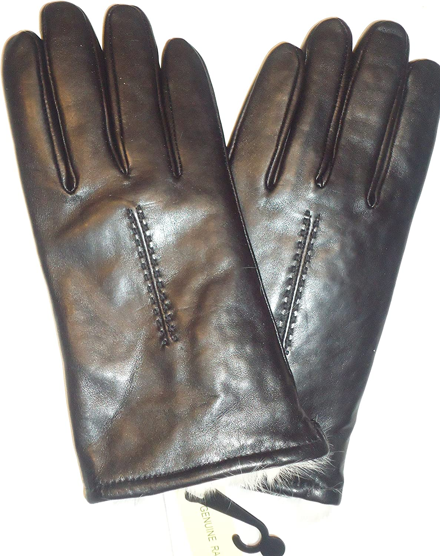 Ladies Etienne Aigner Rabbit Fur Lined Genuine Leather Gloves, Medium Black