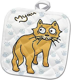 3dRose Warya - Animals. - Ginger Cat Say Meou - 8x8 Potholder (PHL_299938_1)