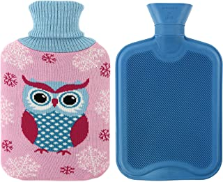 Athoinsu Premium Classical Rubber Hot Water Bottle 2 Liter with Cute Owl Knit Cover (Pink)