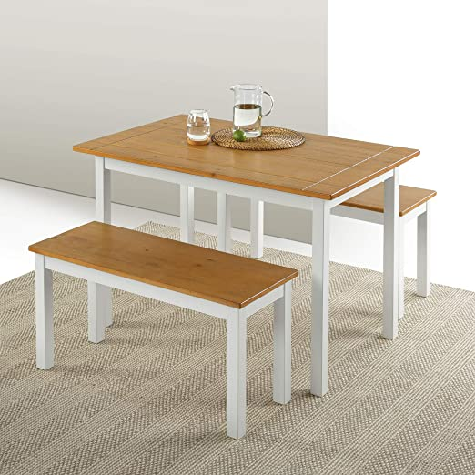 Zinus Farmhouse Dining Table With Two Benches 3 Piece Set Amazon Ca Home