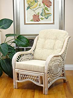 Malibu Lounge Armchair ECO Natural Rattan Wicker Handmade Design with Cream Cushion, White Wash