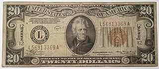 Rare $20 Twenty Hawaii 1934 A Brown Seal Federal Reserve Bank Washington DC USA Scarcer Early Type Note