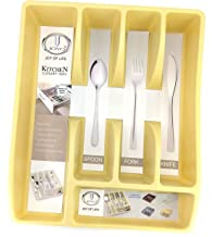 Joyo Plastic Cutlery Organizer, 5 Compartments, Beige