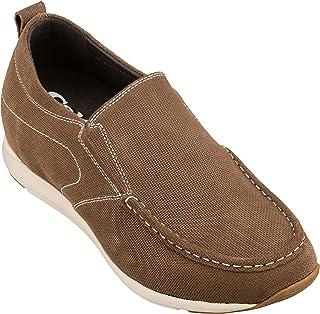 أحذية CALTO الرجالية غير المرئية لزيادة الارتفاع - أحذية جلد جلد نوبوك بني بدون رباط كاجوال - طول 2.8 بوصة - G4904