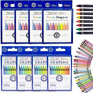 Color Swell Regular and Neon Crayon Bulk Packs - 4 Boxes of Fun Neon Crayons and 4 Boxes of Colorful Regular Crayons of Te...