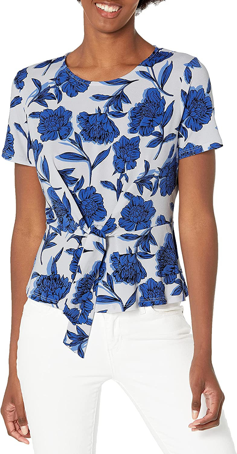 Kasper Women's Short Sleeve Tie Front 67% OFF of fixed price Ity Top Las Vegas Mall Floral
