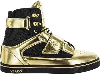 Vlado Footwear Men's Atlas Metallic Gold/Black High Top Sneaker US 8.5