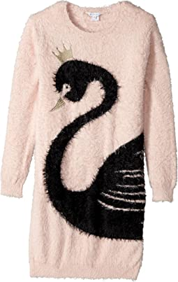 Little Marc Jacobs - Knitted Swan Illustration Long Sleeve Dress (Big Kids)