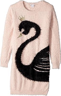 Little Marc Jacobs - Knitted Swan Illustration Long Sleeve Dress (Big Kids)