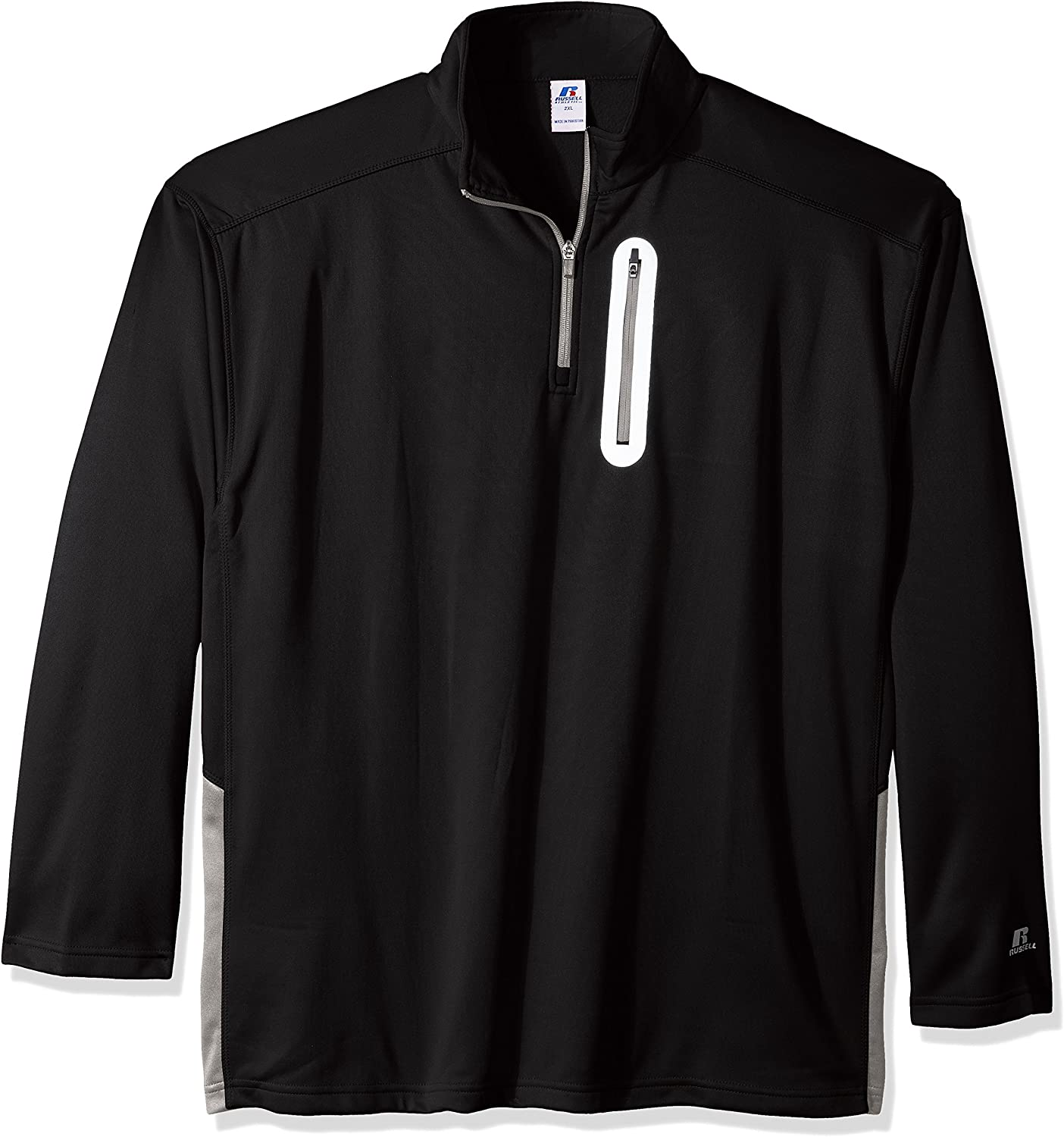 Russell Athletic Men's Big and Tall Ls 1/4 Lc Zip Pkt W/R Logo