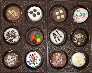 Chocolate Covered Cookies Gift Box. Gourmet Sandwich Cookies. Perfect Gift for the Holidays. 12 Tasty Decorated Cookies. Beautifully Gift Box, Great Gift for Men, Women, Children. Guarantee Fresh.