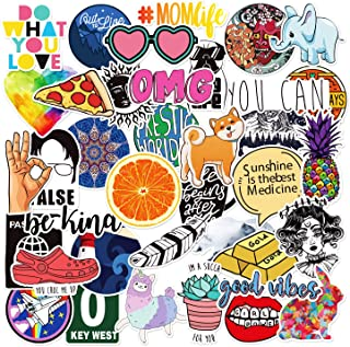 40 PCs Stickers for Water Bottles and Hydro Flask, Cute Cool Waterproof Vinyl Aesthetic Stickers for Laptop MacBook Computer iPhone iPad Skateboard Guitar│for Teens, Girls, Women
