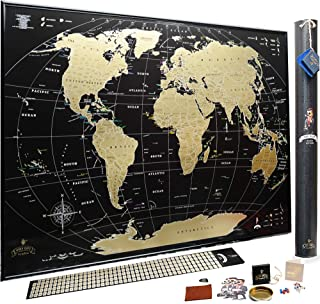 Scratch off map of the World MyMap Black Gold Large Travel map Wall Poster 35x25 Push pin map Includes Pins Tube Flags pos...