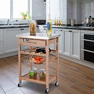 Giantex Kitchen Island Trolley Cart w/Wine Rack Drawer Storage Shelf Basket Bamboo Island Serving Cart w/Stainless Tabletop 4 Casters 2 Lockable