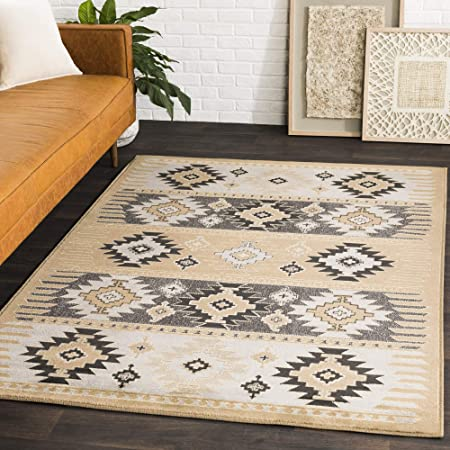 Amazon Com Hepburn Camel Gray And Black Transitional Area Rug 6 7 X 9 6 Furniture Decor