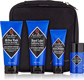 Jack Black - Grab & Go Traveler Set - TSA-Approved Sizes, Clean Break Oil-Free Moisturizer, Pit Boss Antiperspirant & Deodorant, Beard Lube Conditioning Shave, All-Over Wash for Face, Hair and Body