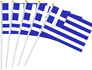 Best 25 Pack Hand Held Small Mini Flag Greece Flag Greek Flag Stick Flag Round Top National Country Flags,Party Decorations Supplies For Parades,World Cup,Festival Events ,International Festival Reviews