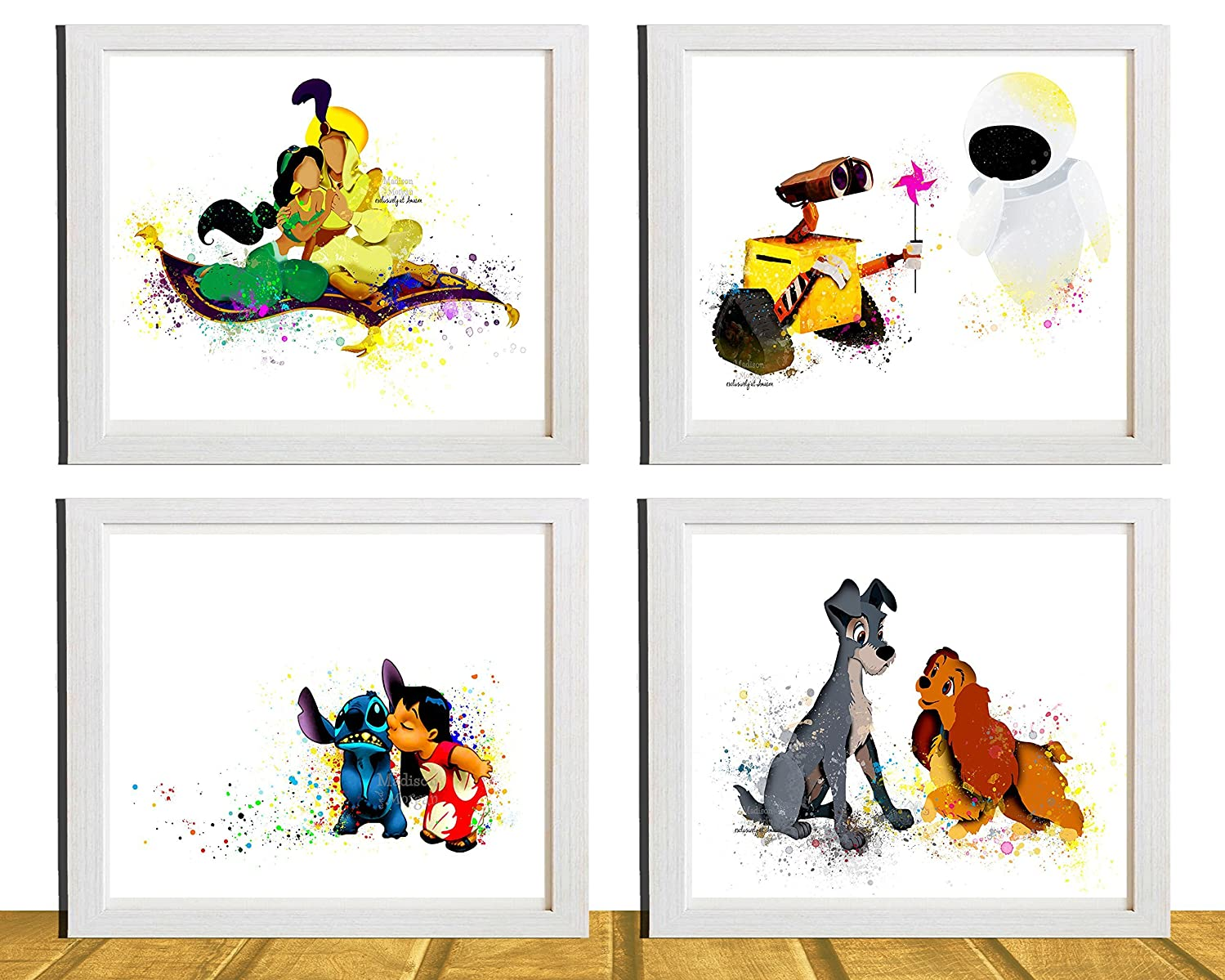 4 piece set (for the price of 3) - Disney Movie Art Prints - Nursery Decor - Wall Decor - Kids Decor - Watercolor Effect - Kids Wall Art - 8 X 10 - Unframed - Printed on Matte Photo Paper