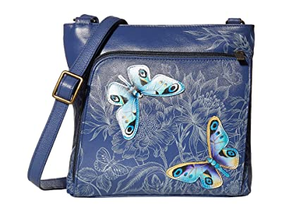 Anuschka Handbags 651 Crossbody with Front RFID Built in Wallet (Garden of Delights) Cross Body Handbags