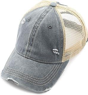 810c4d4d C.C Exclusives Hatsandscarf Washed Distressed Cotton Denim Ponytail Hat  Adjustable Baseball Cap (BT-13