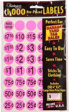 Sunburst Systems 7035 1000 Count Garage Sale Pricing Stickers Pink