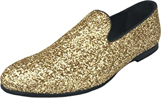 524a7b608b96 Justar Men s Metallic Glitter Sequins Loafers Gold Dress Shoes Tuxedo Slip  On Smoking Slippers Silver Blue
