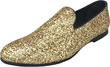 Justar Men's Metallic Glitter Sequins Loafers Gold Dress Shoes Tuxedo Slip On Smoking Slippers Silver Blue