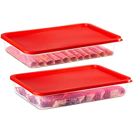 2 Pack – Zilpoo Plastic Bacon Keeper, Deli Meat Saver Cold Cuts Cheese Food Storage Container with Lid for Refrigerator, Shallow Low Profile Christmas Cookie Holder, 84 oz.