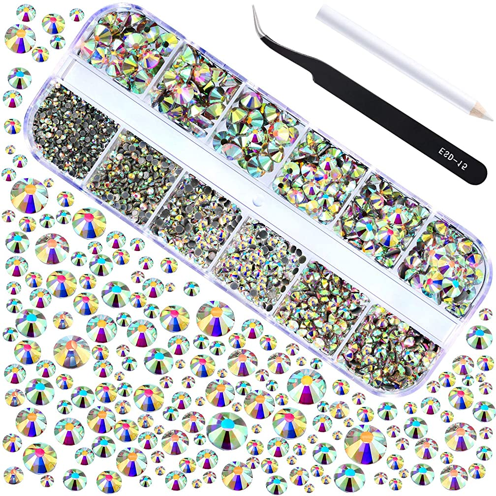 Jovitec 2000 Pieces Hot Fix Glass Flatback Rhinestones HotFix Round Crystal Gems 1.5-6 MM (SS4-SS30) in Storage Box with Tweezers and Picking Rhinestones Pen (Crystal AB)