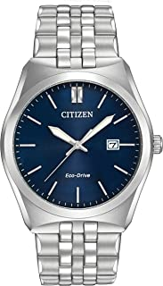 Citizen Corso 男式石英手表蓝色表盘模拟显示和银色不锈钢表链 BM7330-59L
