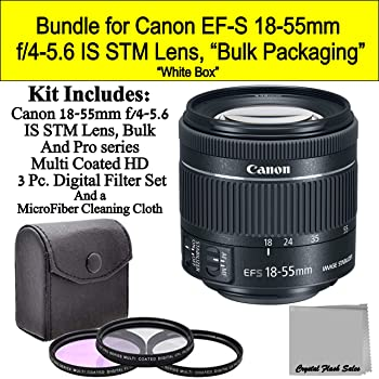 Canon EF-S 18-55mm f/4-5.6 is STM Lens -New Version- (White-Box) Bundle
