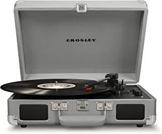 Crosley Cruiser Deluxe Bluetooth Enabled Portable 3 Speed Turntable, Cool Grey