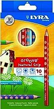 LYRA Groove - Lápices de agarre para niños, Multicolor, Set de 10