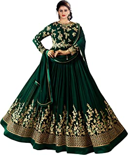 Fashion Basket Womens Faux Georgette Anarkali Embroidered Semi Stitched Salwarsuit