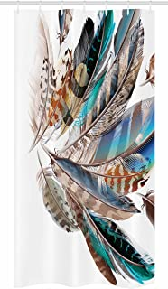 Ambesonne Feathers Stall Shower Curtain, Vaned Types and Natal Contour Flight Bird Feathers and Animal Skin Element Print, Fabric Bathroom Decor Set with Hooks, 36