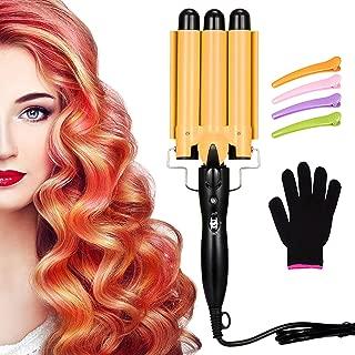 3 Barrel Curling Iron Wand Hair Waver Iron Ceramic Tourmaline Hair Crimper with 4 Pieces Hair...