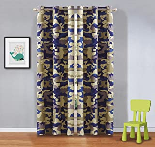 Linen Plus 2 Panel Curtain Set for Teen Kids Camouflage Army Beige Blue Taupe New