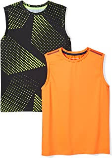 Amazon Essentials Boys' 2-Pack Active Muscle Tank Niños, Pack de 2