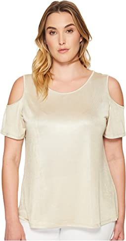 Plus Size Metallic Cold Shoulder Top