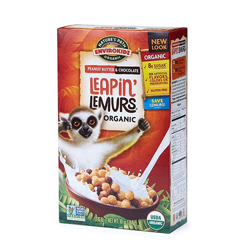 Nature's Path EnviroKidz Peanut Butter & Chocolate Leapin' Lemurs Cereal, Healthy, Organic, Gluten-Free, 10 Ounce Box (Pack of 6)