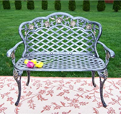 Oakland Living Tea Rose Cast Aluminum Love Seat Bench, Antique Bronze