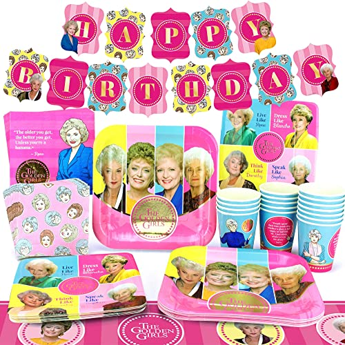 Golden Girls Party Supplies (Standard for 16) Golden Birthday Party Pack, 83 Piece Set, by Prime Party