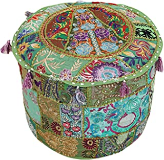 DK Homewares Indian Vintage Patchwork Pouf Ottoman Cover Parrot Green Round Foot Stool Decorative Tuffet Cotton Embroidered Pouffe Floor Cushion Floral Traditional 16x16x13