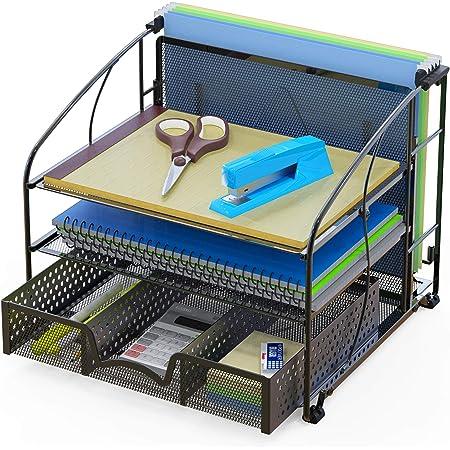 SimpleHouseware Desk Organizer 3 Tray w/ Sliding Drawer and Hanging File Holder, Black