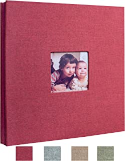 Beautyus Self Adhesive Stick Photo Album Magnetic Scrapbook DIY Anniversary Memory Book for Baby Wedding Family Albums Holds 3x5, 4x6, 5x7, 6x8, 8x10 Photos (Red, M)