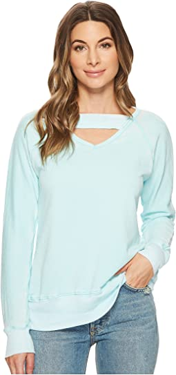 Allen Allen - Deep V with Ribbed Neckband Sweatshirt