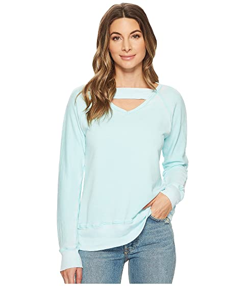 Deep V With Ribbed Neckband Sweatshirt, Aquamarine