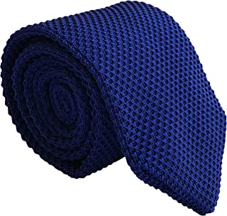 Men Royal Blue Slim cut Knit Neck Ties Unique Fashion Winter Necktie for Husband