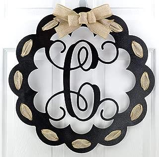 Letter C - Monogrammed Door Hanger | Mom Gift | Black and Burlap Everyday Year Letter Door Hanger