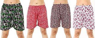 MUKHAKSH (Pack of 4 Women's/Girls/Ladies Hot Soft Cotton Printed Shorts/Lounge Shorts/Night Shorts/Nikar, Prints May Vary